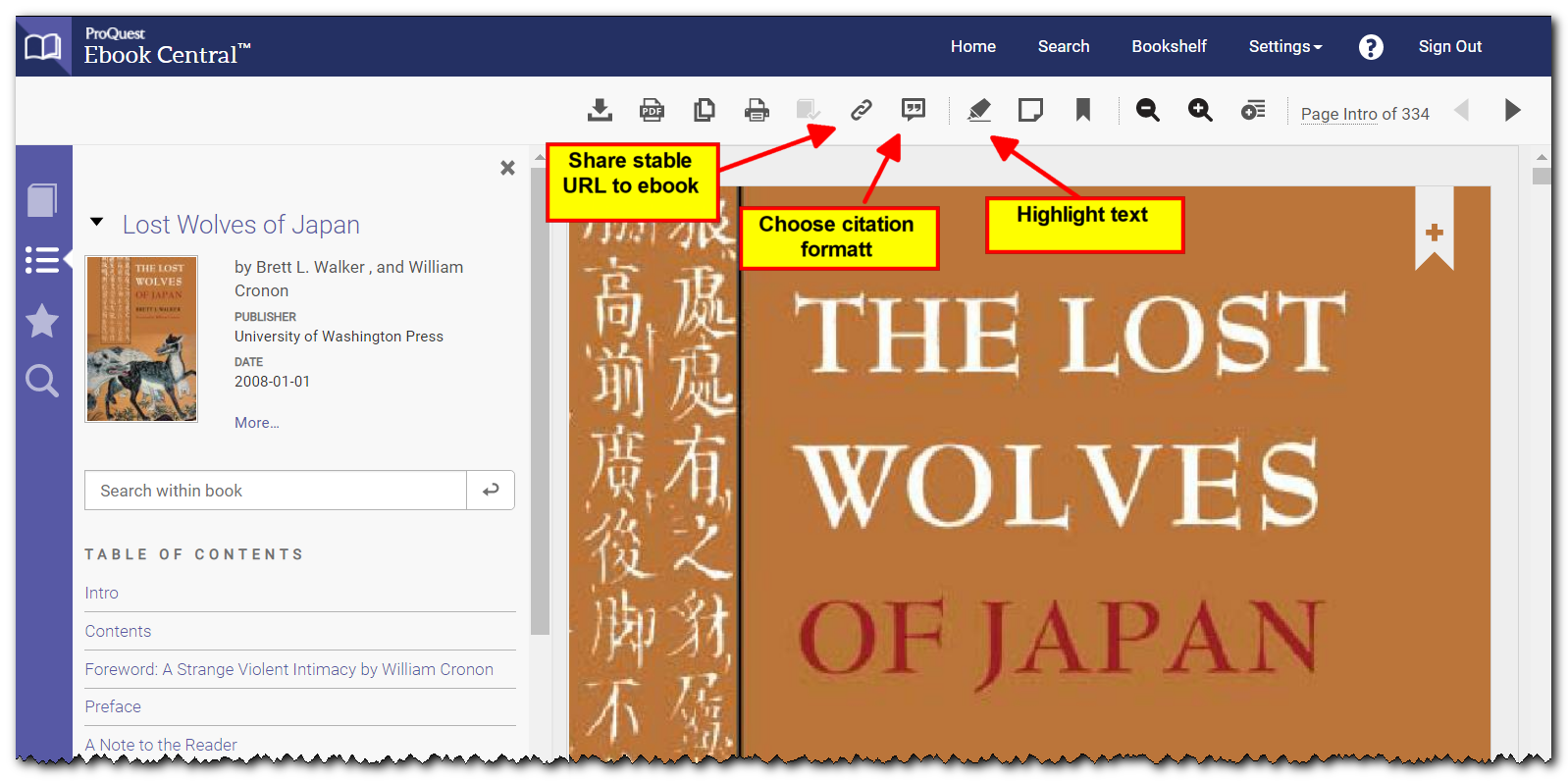 Ebook tool menu showing icons for autoformat citation, highlight text, and share stable URL for ebook.