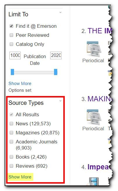 Screenshot of Limit by Source Type: choose news, ebooks, audio, video, scholarly, etc.