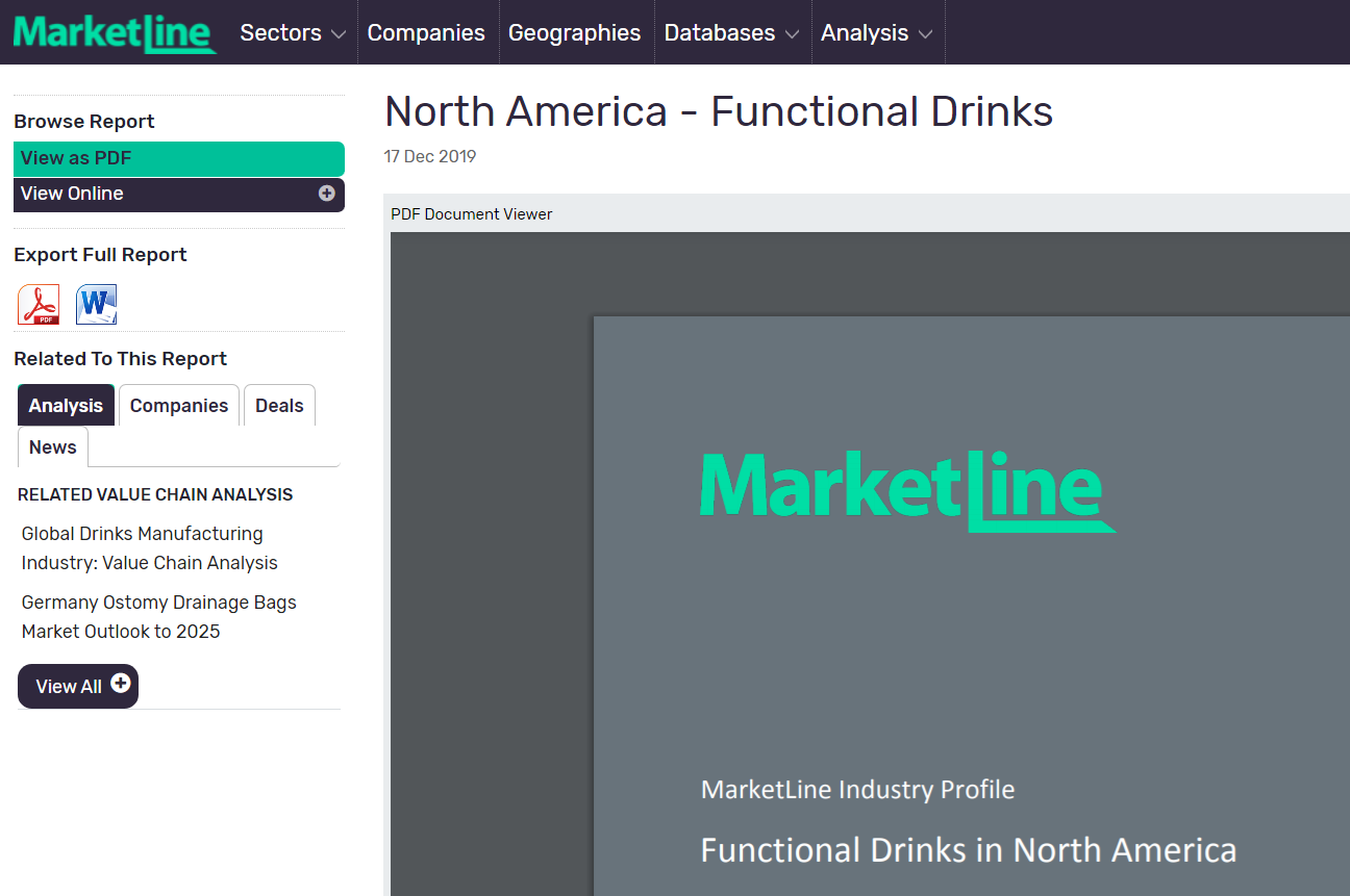 MarketLine Industry Profile for Functional Drinks, North America.