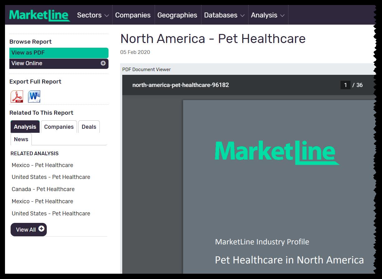 MarketLine PDF of North American Pet Healthcare Industry.