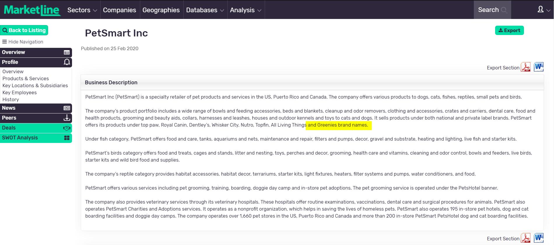 MarketLine Company Profile for PetSmart, Inc.