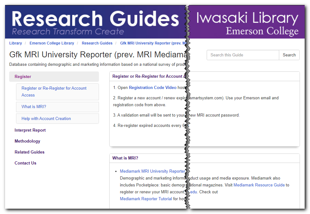 Mediamark Research Guide with Registration Code and instructions for accessing Mediamark.