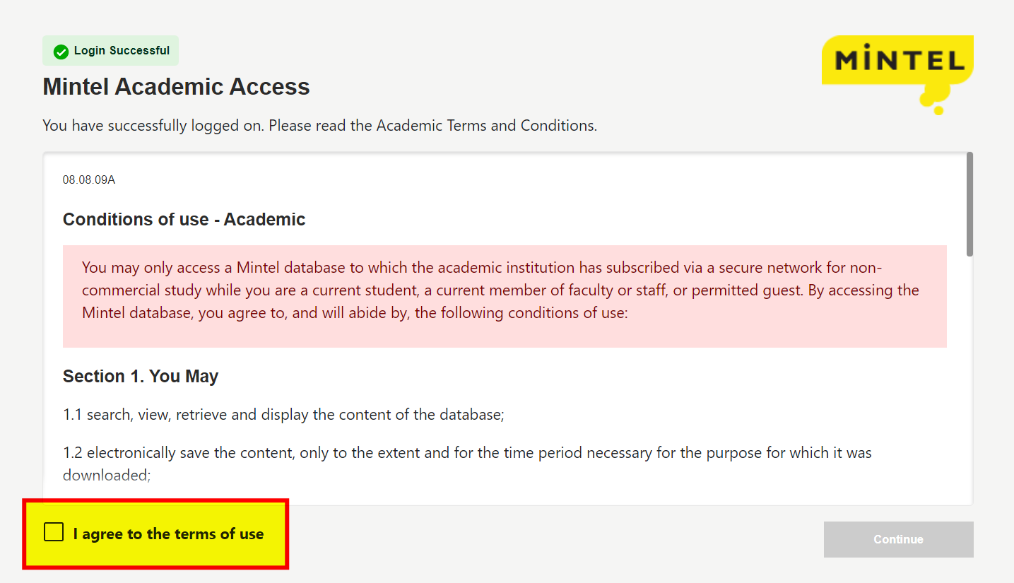 "Mintel's Terms and Conditions screen with checkbox for ""Agree""."