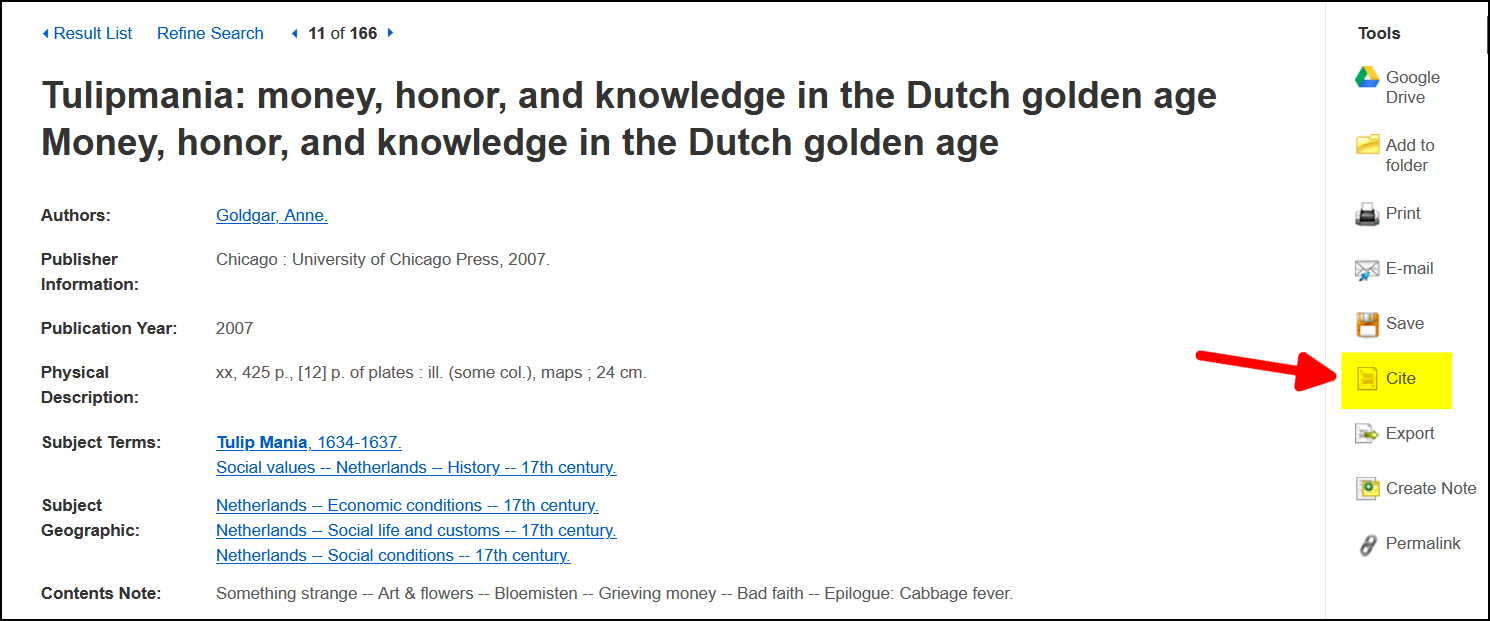 Screenshot of Citation tool in Multisearch book result for Tulip Mania.
