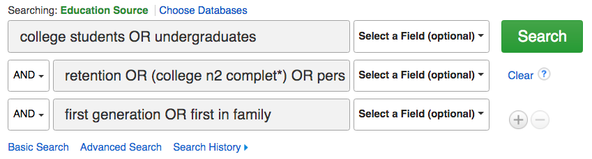 Image of sample database search: line 1, college students OR undergraduates; line 2, retention OR (college n2 complet*) OR persistence; line 3, first generation OR first in family