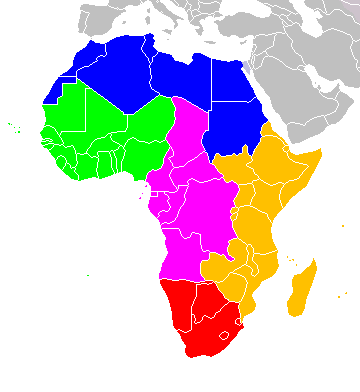 map of Africa's geographic regions