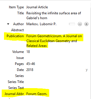 Article information displayed with publication and journal abbreviation fields highlighted