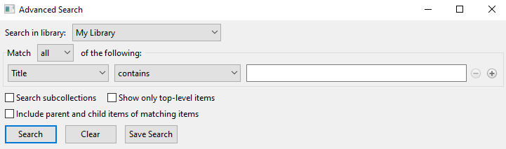 advanced search dialog