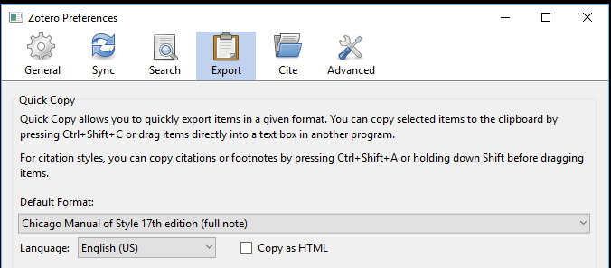 zotero preferences choose export style