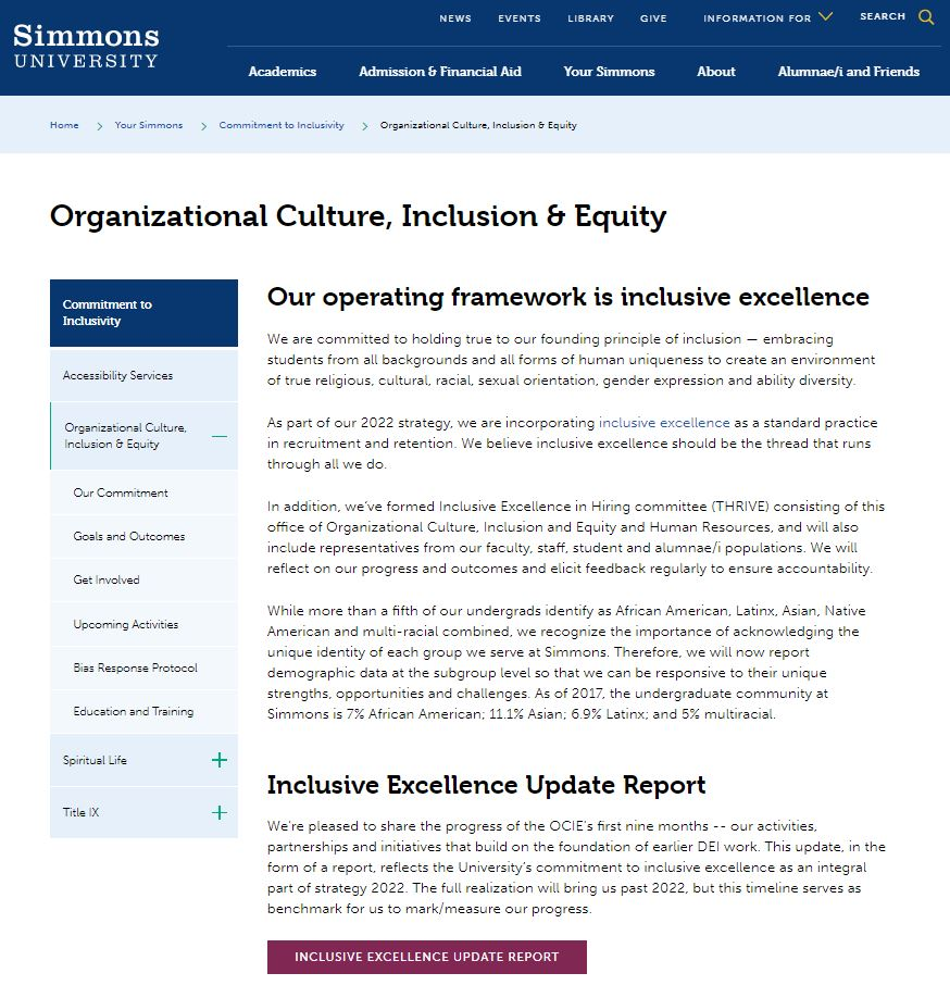 Simmons Office of Organizational Culture, Inclusion & Equity main page