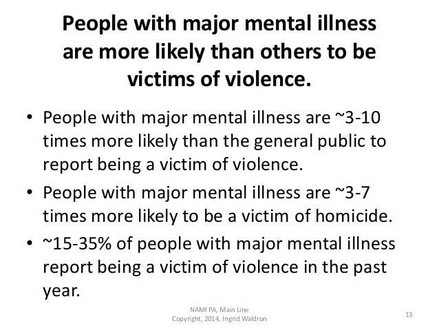 "Image: Screenshot of powerpoint slide that says ""People with major mental illness are more likely than others to be victims of violence. • People with major mental illness are ~3-10 times more likely than the general public to report being a victim of violence. • People with major mental illness are ~3-7 times more likely to be a victim of homicide. • ~15-35% of people with major mental illness report being a victim of violence in the past year. NAMI PA, Main Line Copyright, 2014, Ingrid Waldron 13"""