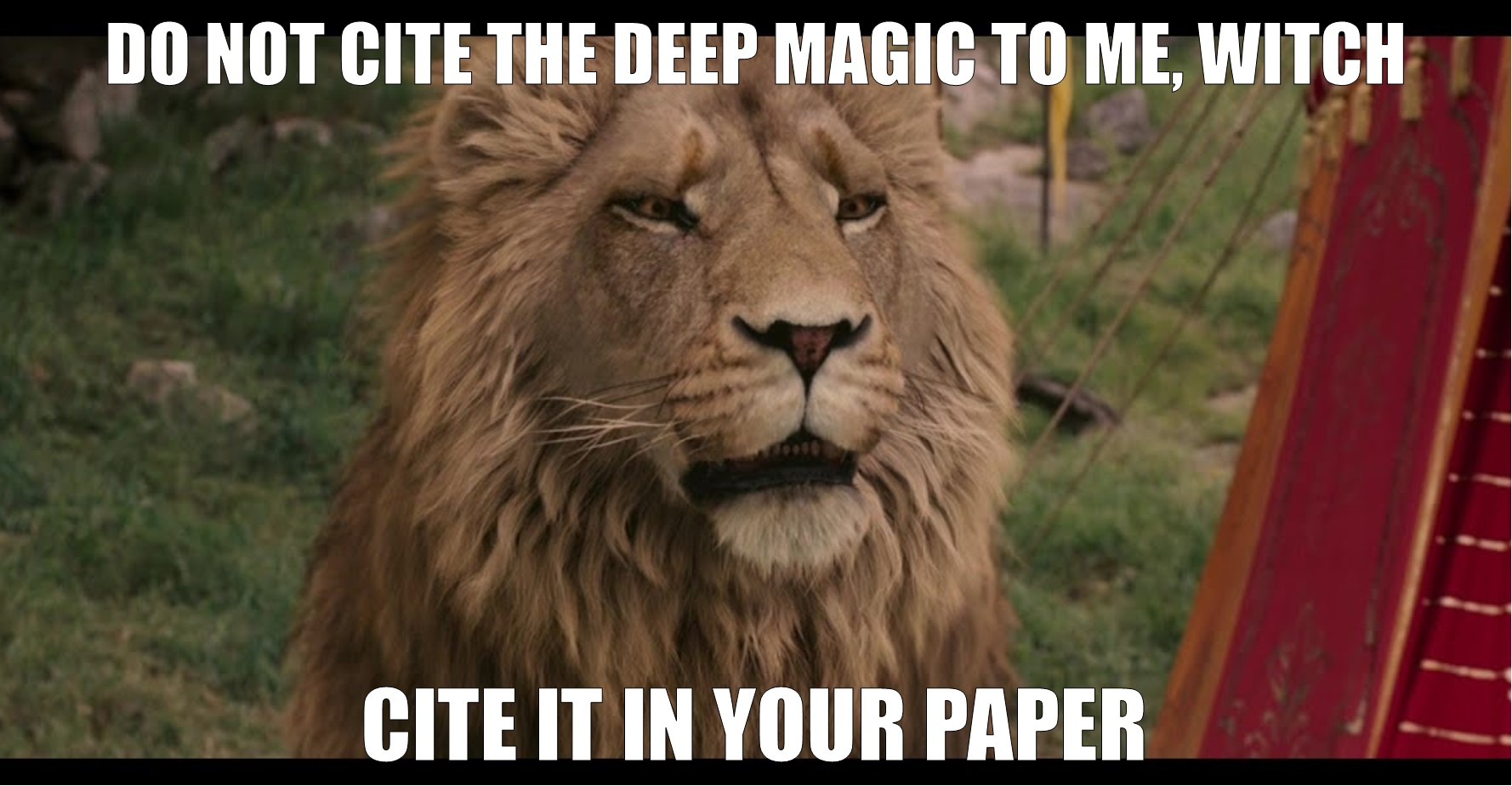 "Screenshot of Aslan from Disney's The Lion, the Witch, and the Wardrobe. Text reads ""Do not cite the deep magic to me, Witch. Cite it in your paper."""