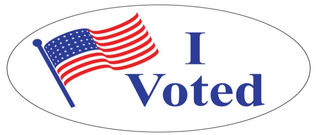 "Image of ""I Voted"" sticker with the American flag"