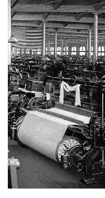 "This is an image depicting the Arlington Mills Weave Room No. 2, from a book called ""Wool and cotton in all forms from yarn to fabric"" (1921)."