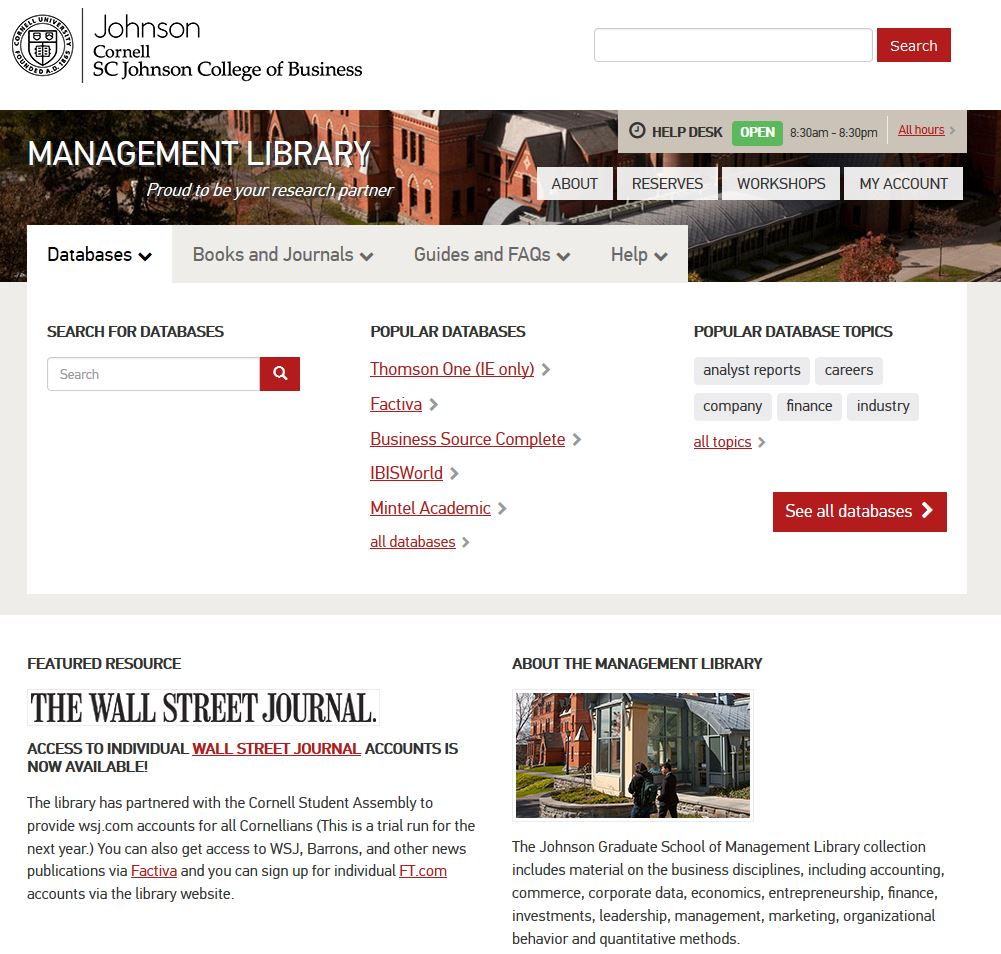 Management Library webpage