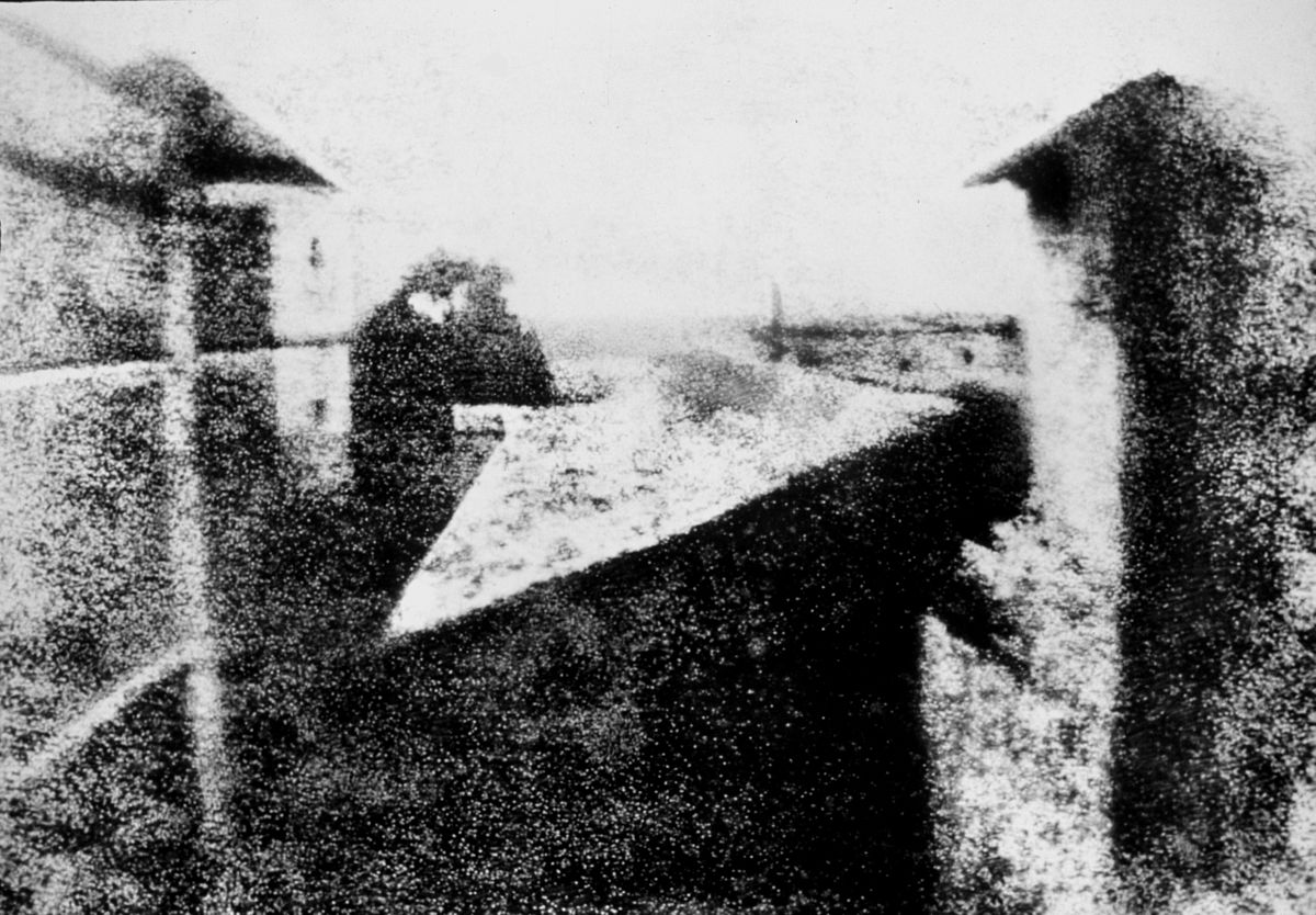 Enhanced version by Helmut Gersheim (1913–1995), performed ca. 1952, of Niépce's View from the Window at Le Gras, (Harry Ransom Humanities Research Center, University of Texas, Austin), the first successful permanent photograph created by Nicéphore Niépce in 1826 or 1827, in Saint-Loup-de-Varennes (Saône-et-Loire, Bourgogne, France)