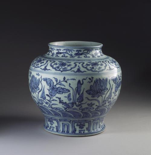 Image: porcelain jar with lotus design, late 15th century to early 16th century