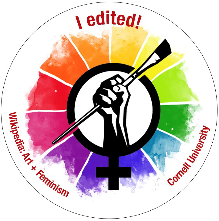 "Image: art and feminism logo against rainbow background with ""I edited"" slogan"