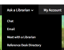 """Image: screen shot of the """"Ask a Librarian"""" menu of choices from the Library.cornell.edu home page, with link"""