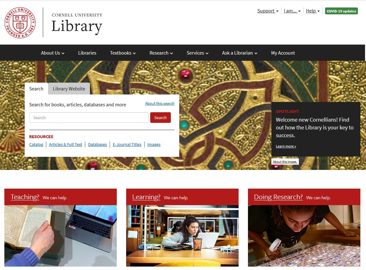 Image: screen shot of Cornell University Library homepage