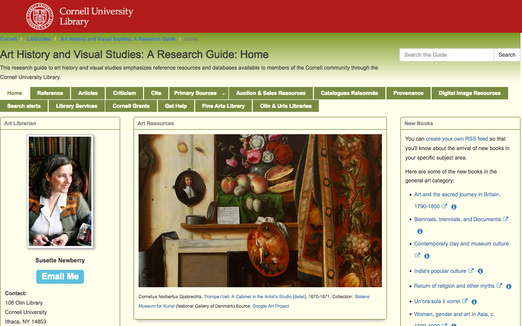 Image: Cornell Art History library guide screen shot