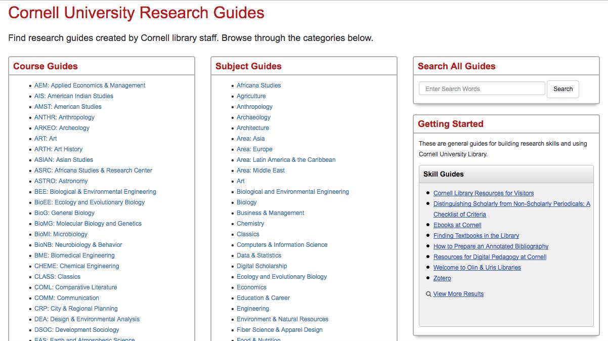 screen shot of CUL guides