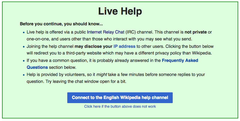 Image: screen shot of live help screen from Wikipedia