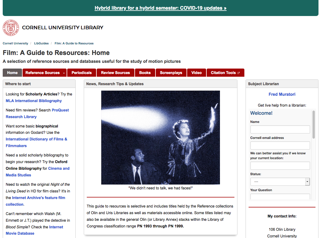Image: screen shot of the guide to Film Resources at the Cornell University Library