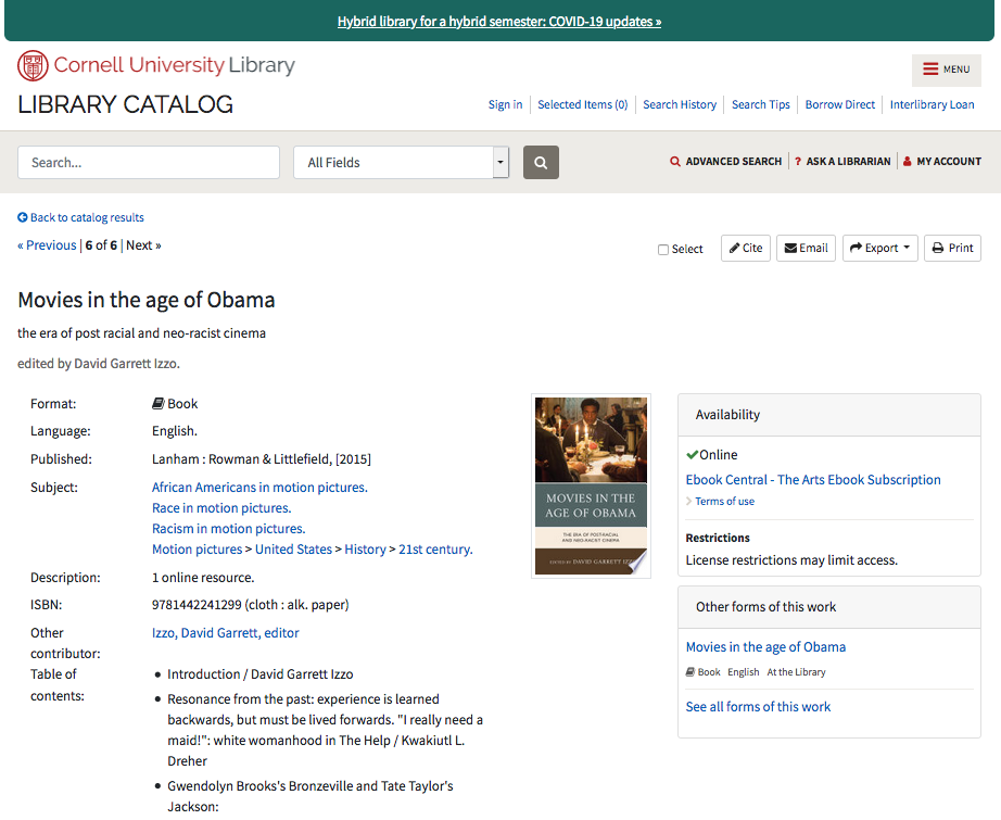 Image: screen shot of library catalog record with link to record