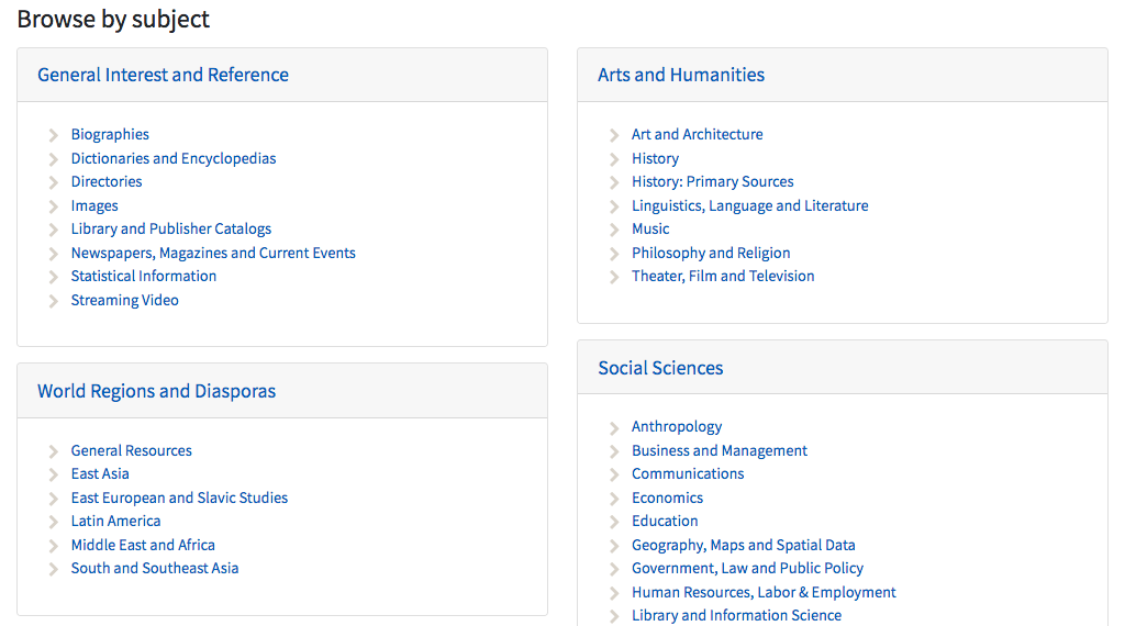 Image: screen shot of database subjects, arranged by discipline
