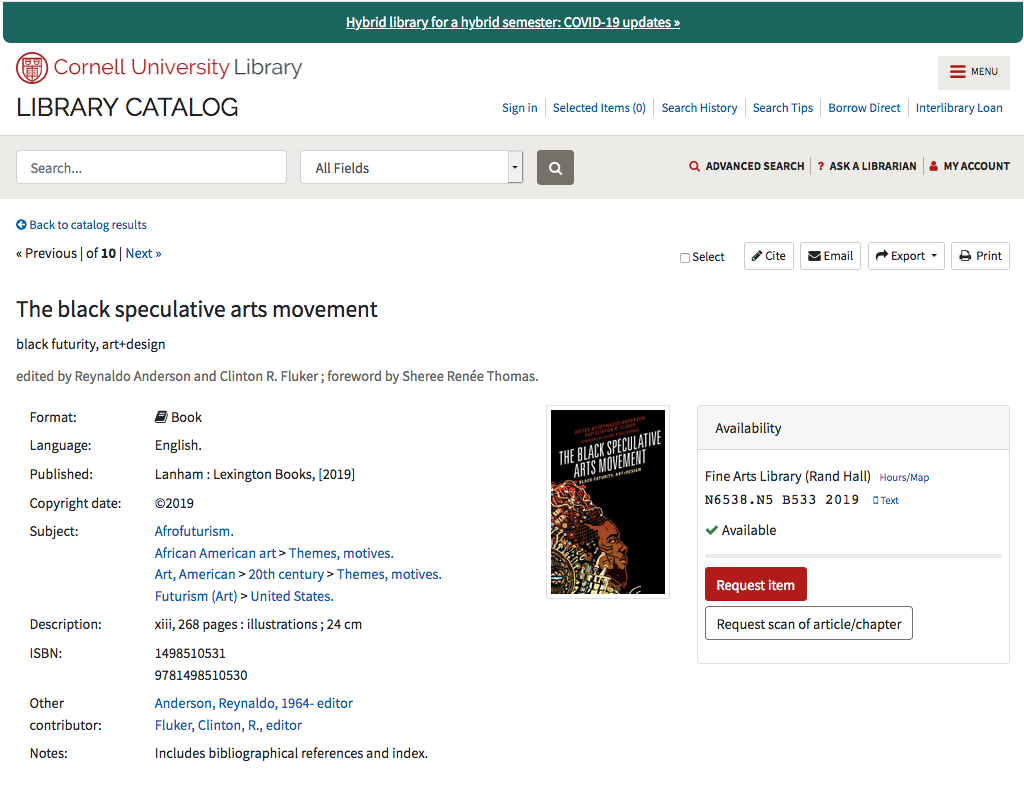 Image: screen shot of example Cornell Library catalog record with link