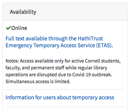 Image: screen shot of availability information for a HathiTrust ETAS book