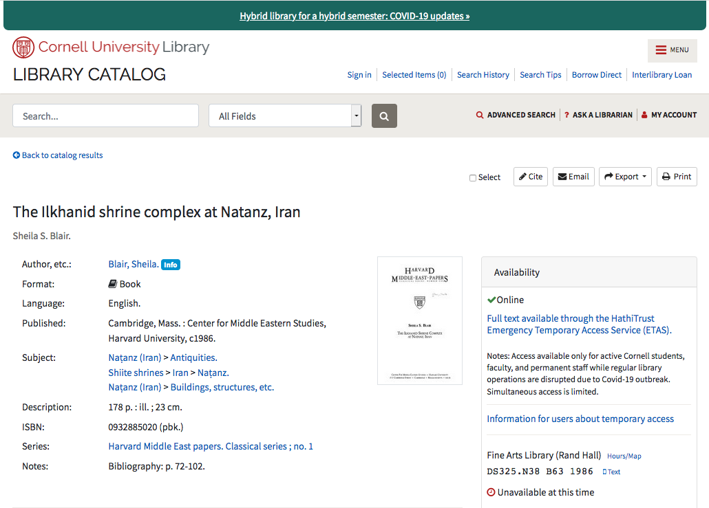 Image: screen shot of example catalog record from Cornell University Library catalog with link to catalog record
