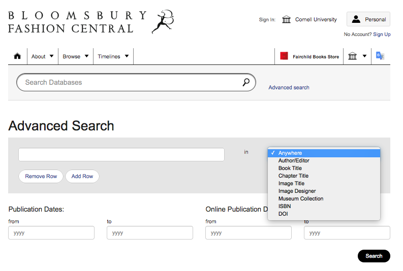 Image: screen shot of Bloomsbury Fashion Central advanced search options