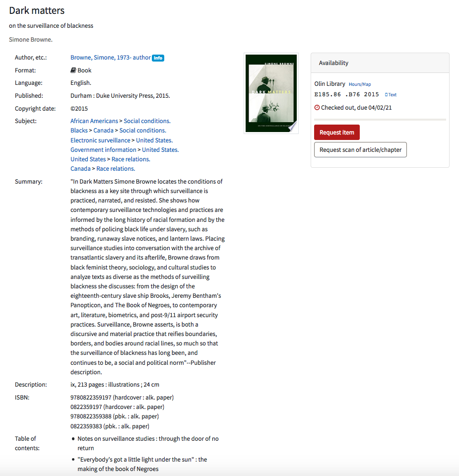 Image: screen shot of catalog record for book, Dark Matters.