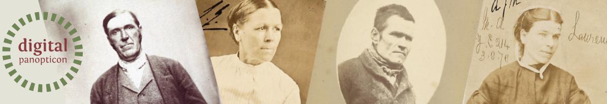 Image: digital panopticon website header image with logo, a mosaic of 19th-century criminal portrait photographs