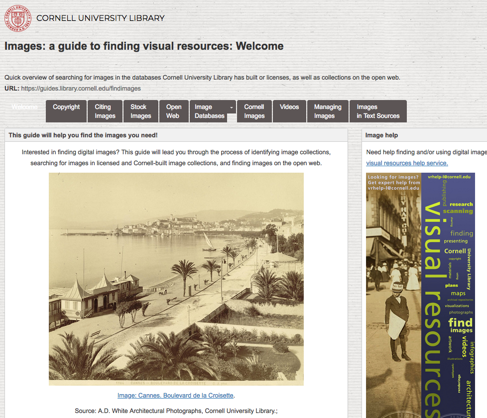 Image: screen shot of CUL Finding Images guide