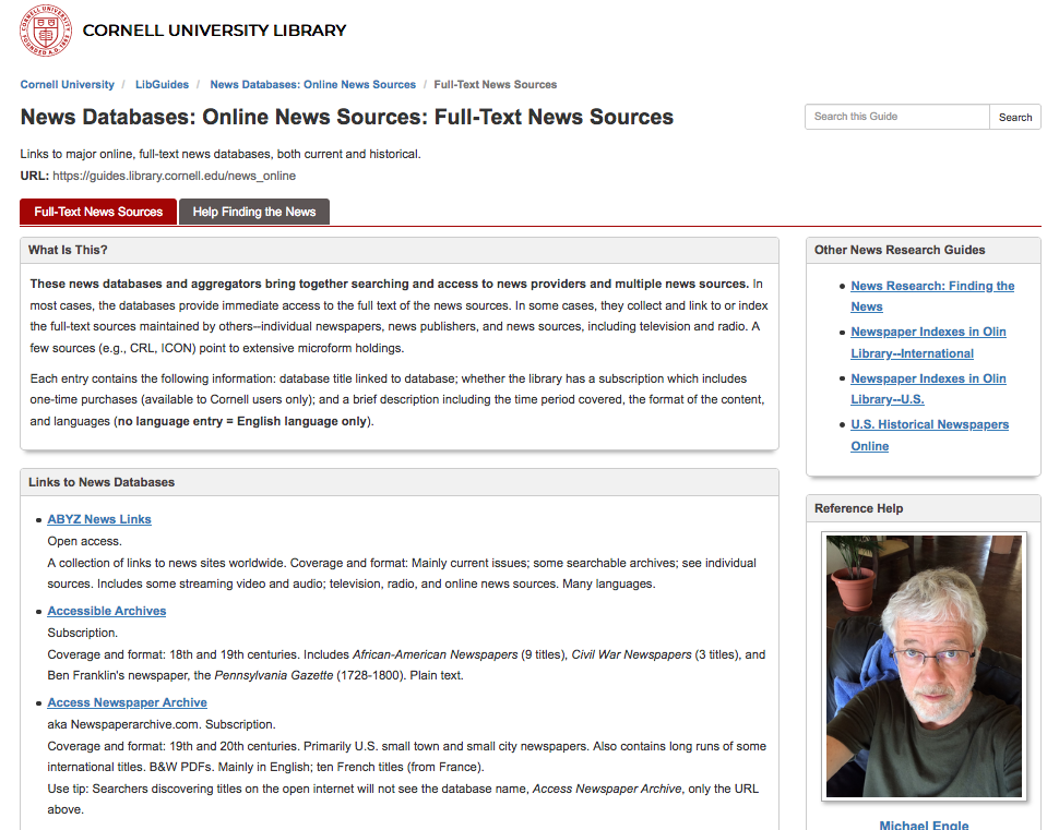 Image: screen shot of Cornell's full-text news sources library guide