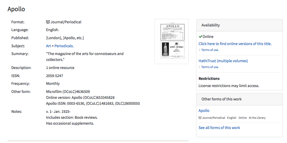 Image: screen shot of record in the CU Library catalog for the journal Apollo