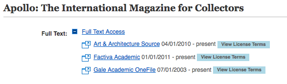 Image: full text options (via the CU Library catalog) for the journal Apollo