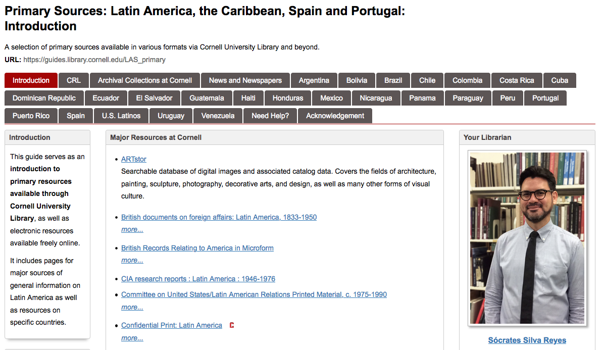 """Image: screen shot of Cornell Library guide, """"Primary Sources: Latin America, the Caribbean, Spain and Portugal"""""""