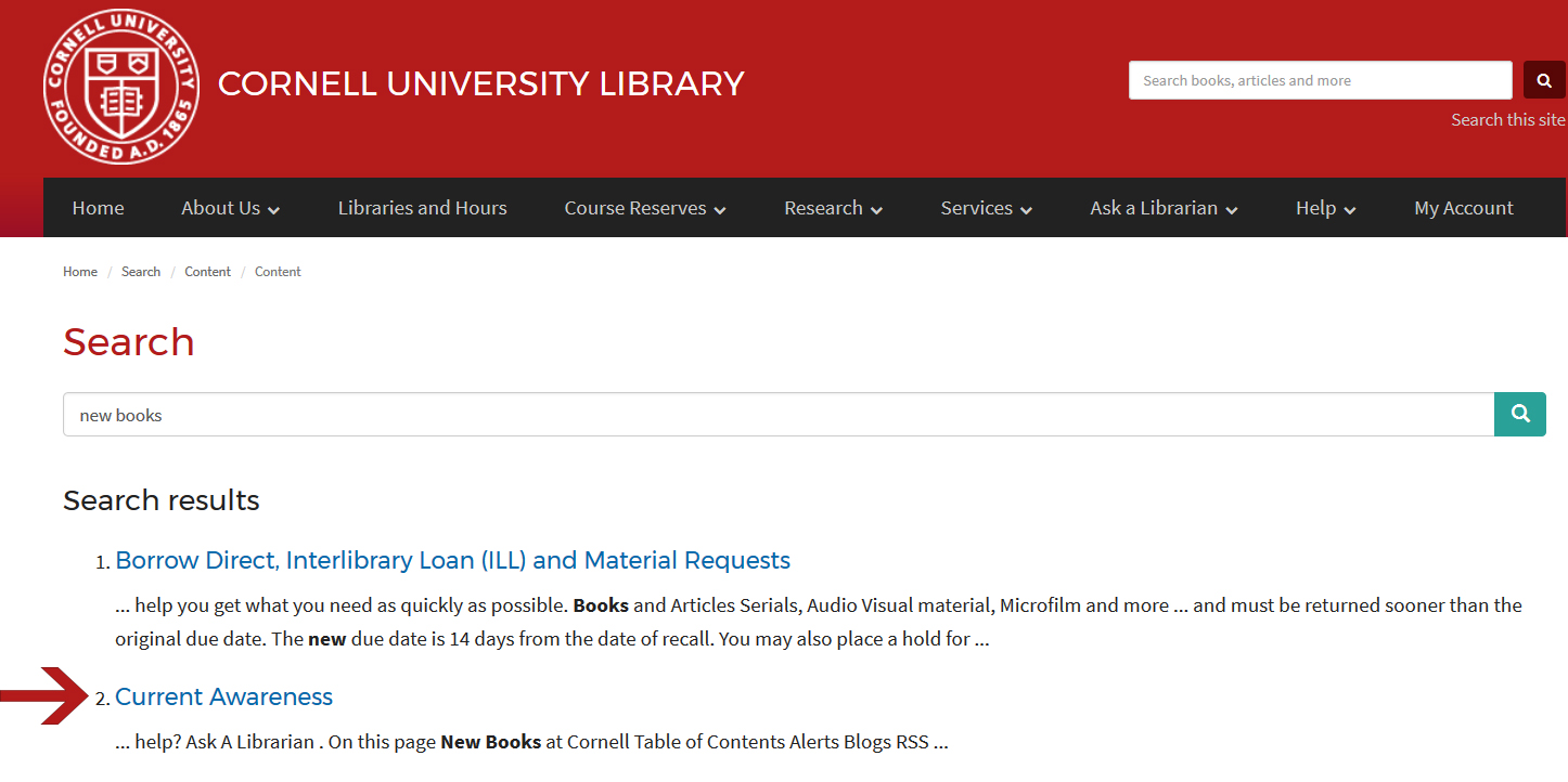"Cornell University Library search results for ""current awareness"""