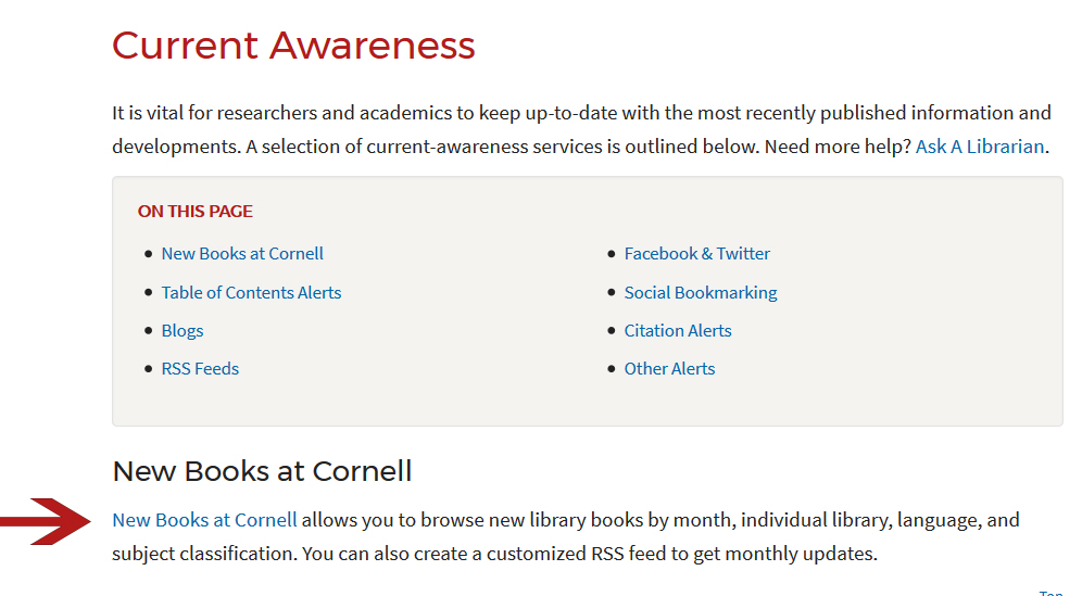 "Cornell Library ""current awareness"" page with ""new books"" link highlighted"