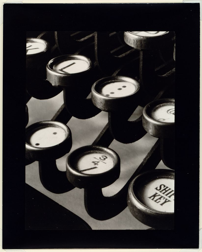 Image: Typewriter keys, detail.     by Ralph Steiner, Clarence H. White School of Photography.  Published 1921, printed 1945