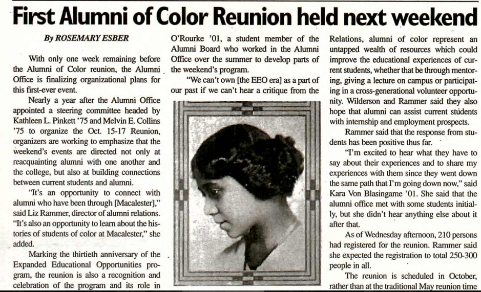 Mac Weekly Article First Alumni Of Color Reunion
