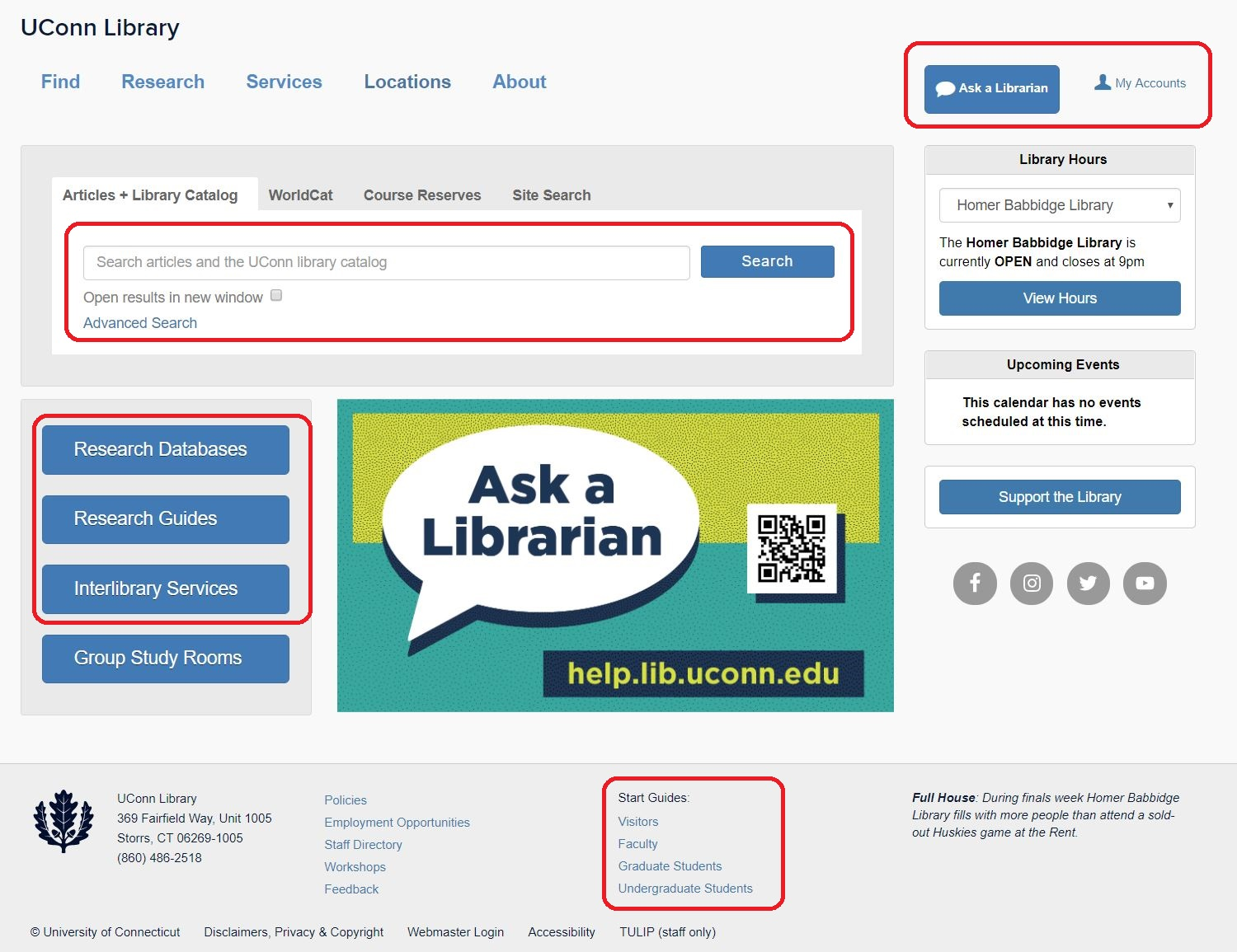 library homepage with highlights