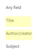 Author / Title search options in General Search