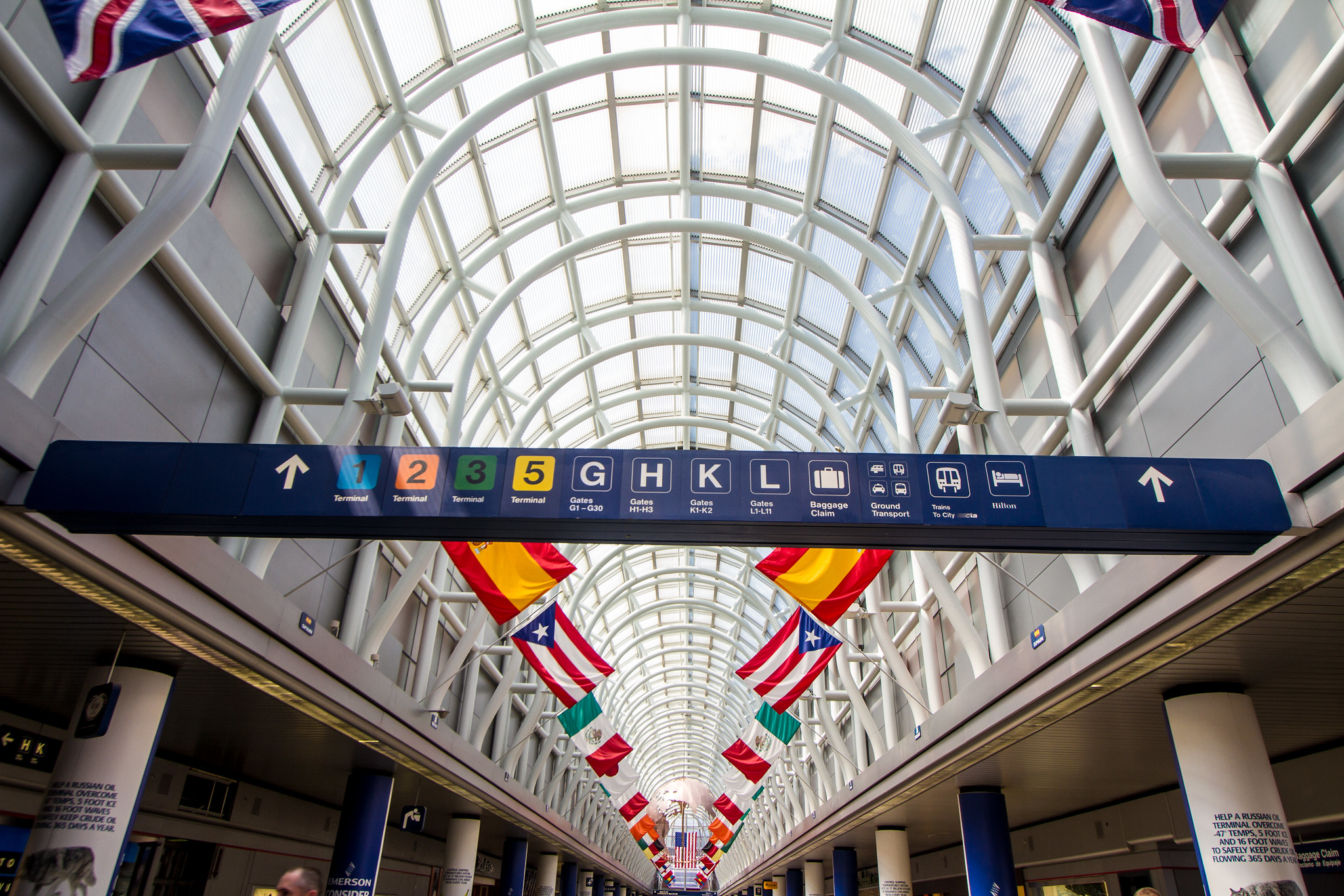 International flags at Chicago airport