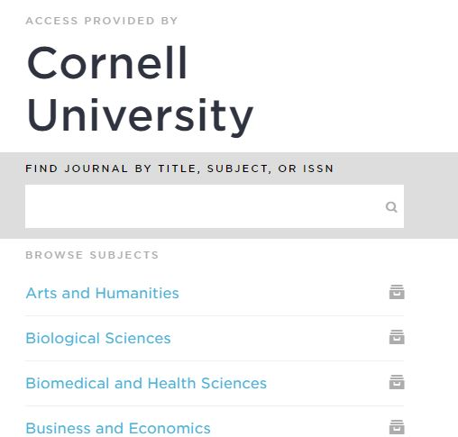 Listing of subject headings in Browzine as provided by Cornell University Library subscriptions