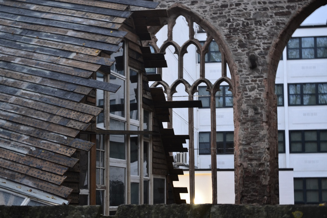 Image of a church as part of an art installation